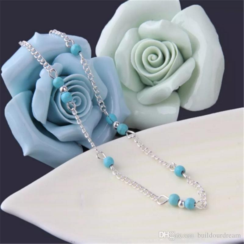Unique Nice Turquoise Beads Silver Chain Anklet souvenir Ankle Bracelet Foot Jewelry Fast New Hot Selling aa85-90 2017112810
