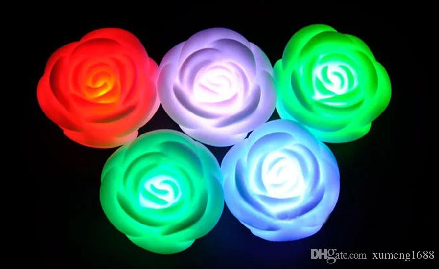 Rose Flower LED Light Night Changing Romantic Candle Light Lamp Smokeless Flameless - Wedding Party Chirstmas Decor