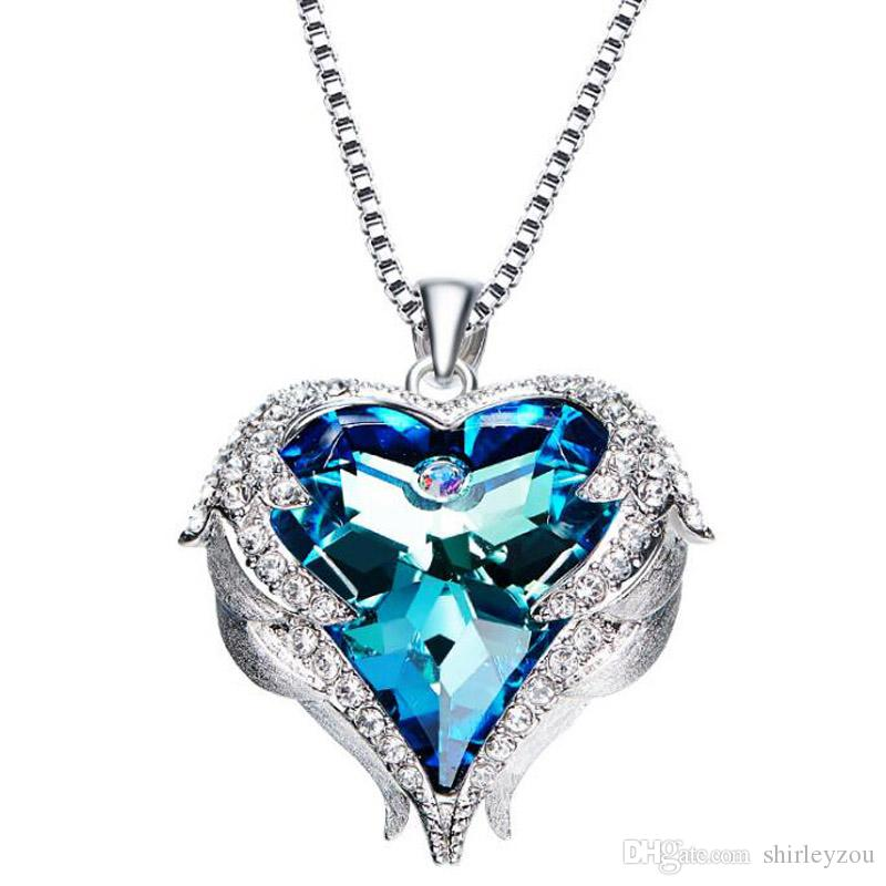chain jewelry products natural for shape necklaces woman silver fine crystal pendant with sterling heart gemstone blue
