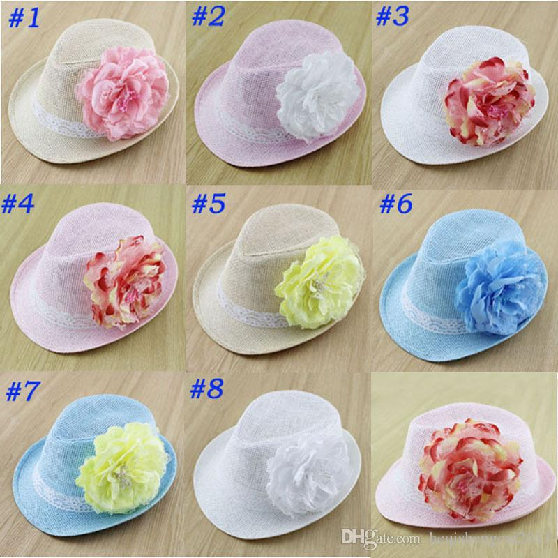 Best Big Peony Decoration Kids Straw Hat Baby Summer Straw Cowboy