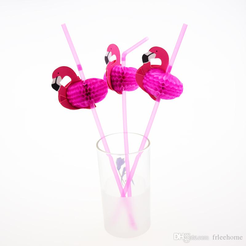 Flamingo on Paper Straws Cake Pops Birthday Party Decorations Kids Wedding Decor Party Creative Straws Disposable Straw XMAS Diy Red