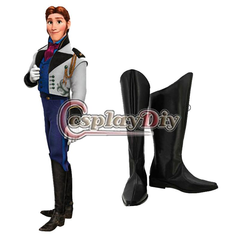 435f72978688d Prince Hans Cosplay Boots Adult Men s Halloween Party Anime Shoes Custom  Made factory direct sale Free Shipping D0605