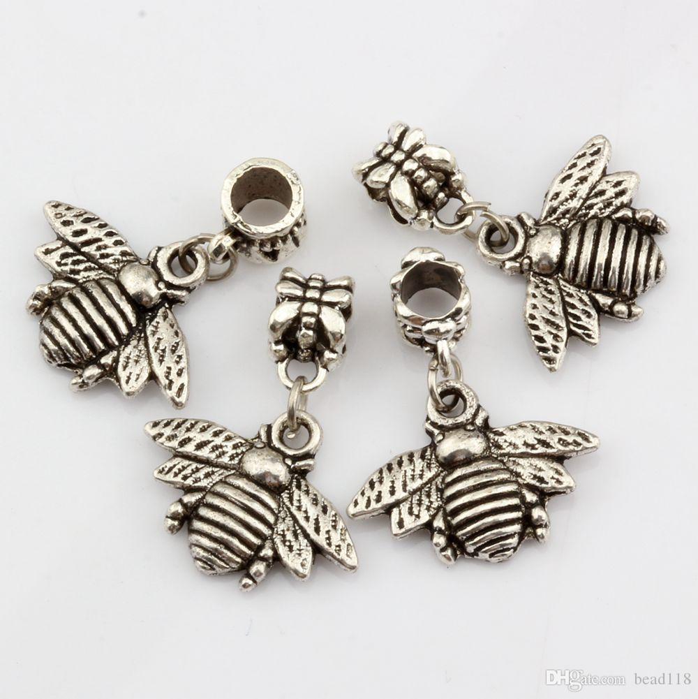 Caliente ! 100 Unids Encantos de Las Abejas de plata Antigua Dangle Bead Fit Pulsera Del Encanto DIY Joyería 28 * 21mm