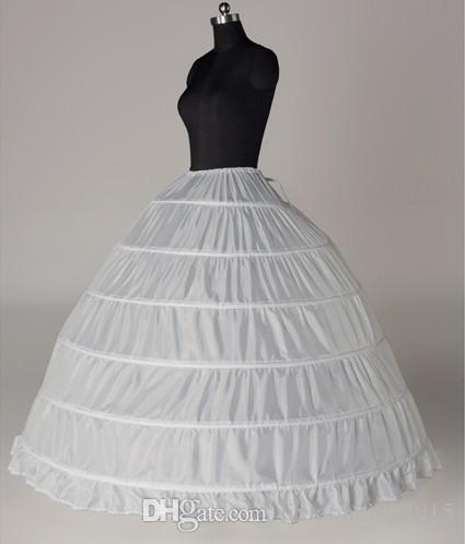 Wit Bruiloft Accessoires Baljurk Bruids Petticoats voor Quinceanera 6 Hoepels Crinoline voor bruiloft Princess Bruidsjurk Onderrok