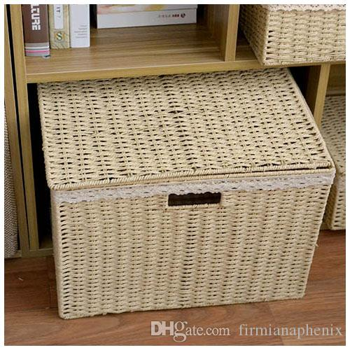 3piceshome household thin paper string hand-knitted desk organization basket stash living room clothes toys storage