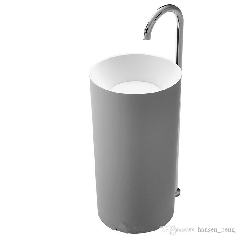 CUPC Zertifikat Freistehende Mineralwerkstein Badezimmer Corian Waschbecken Garderobe Runde Stand Waschbecken RS38151