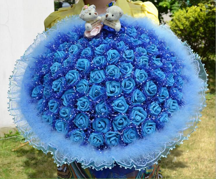 D58 High-quality Hand-made Wedding Bouquet 2 Bears +99 Roses Lace ...