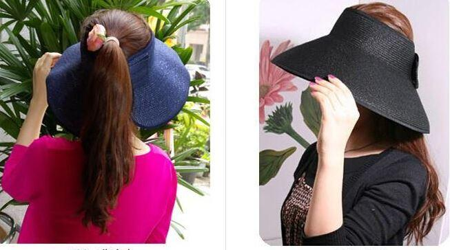 20pcs Fashion Woman Wide Brim Roll Up Sun Straw Beach Hat Visor Cap Foldable