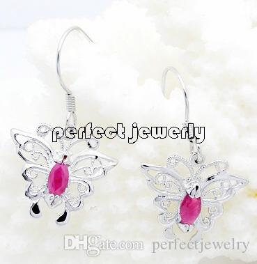 jewelry earring women earrings real rose item fine study ruby natural gemstone diamond gold genuine