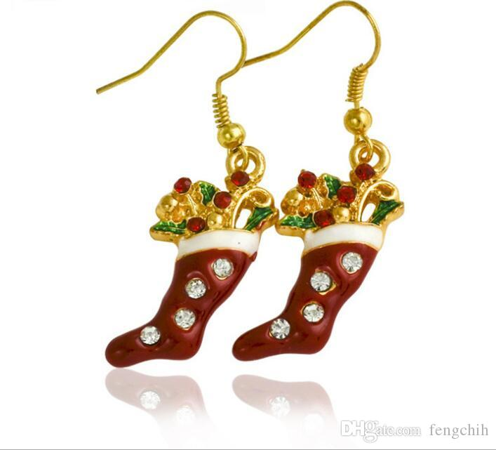 2017 Nouveau diamant chaussettes Boucles d'oreilles de Noël chaud Europe et les États-Unis style populaire ornements de Noël personnalisé boucles d'oreilles de vacances
