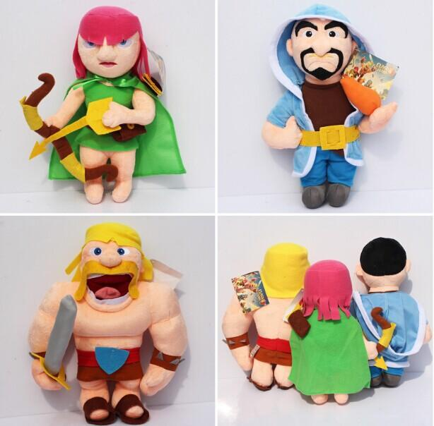 EMS 10sets 30pcs Clash of Clans Game Plush Toys Archer Wizard Barbarian COC  Stuffed Plush Dolls For Children 29-32cm