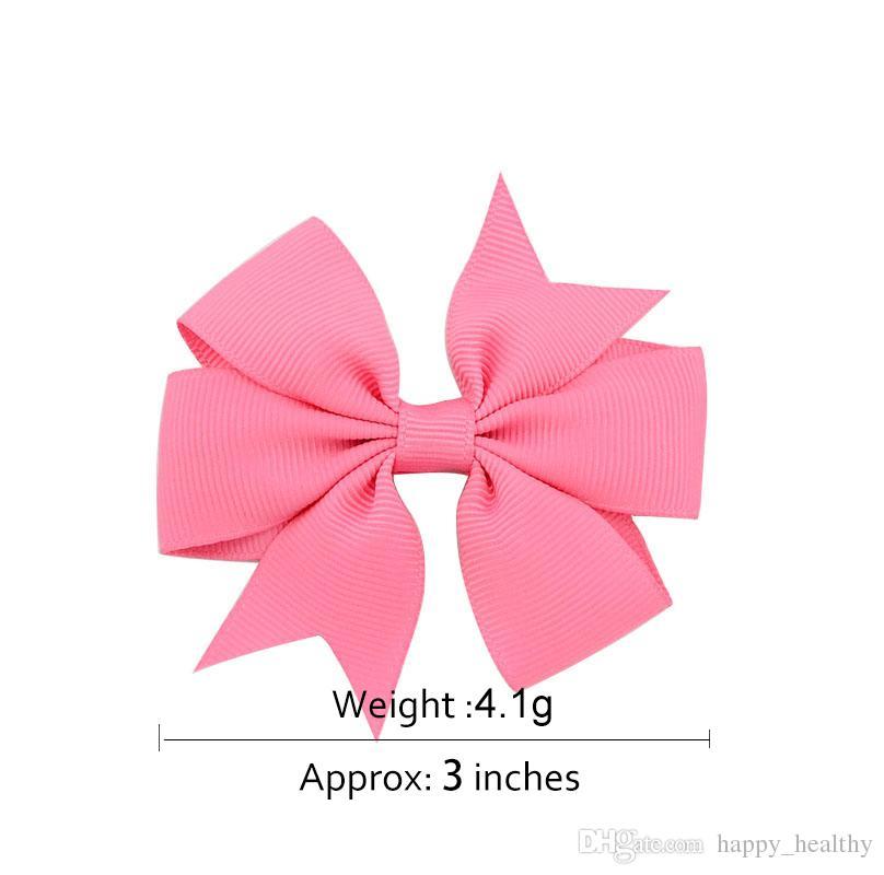 wholesale Bowknot hairpin 3 inch Barrettes grosgrain ribbon hair bows children hair accessories baby hairbows girl hair clip
