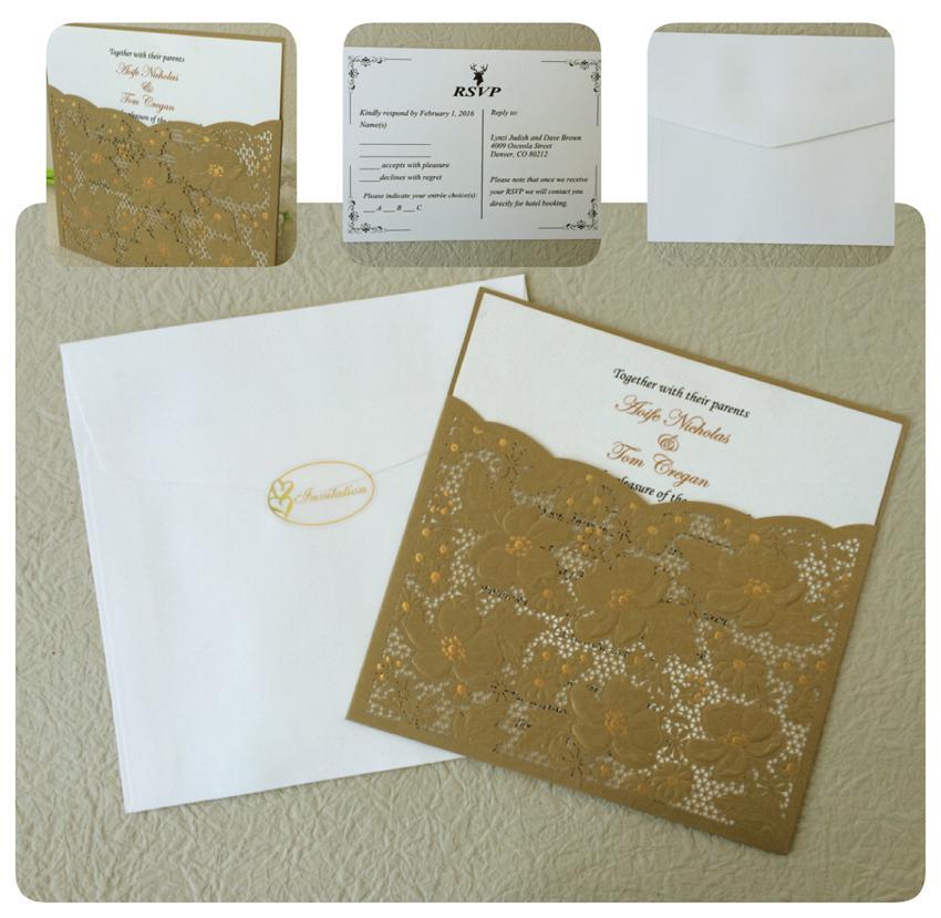 pocket wedding invitations gold lace wedding invitation cards bridal shower invitation laser cut wedding cards cheap wedding invitation packages cheap