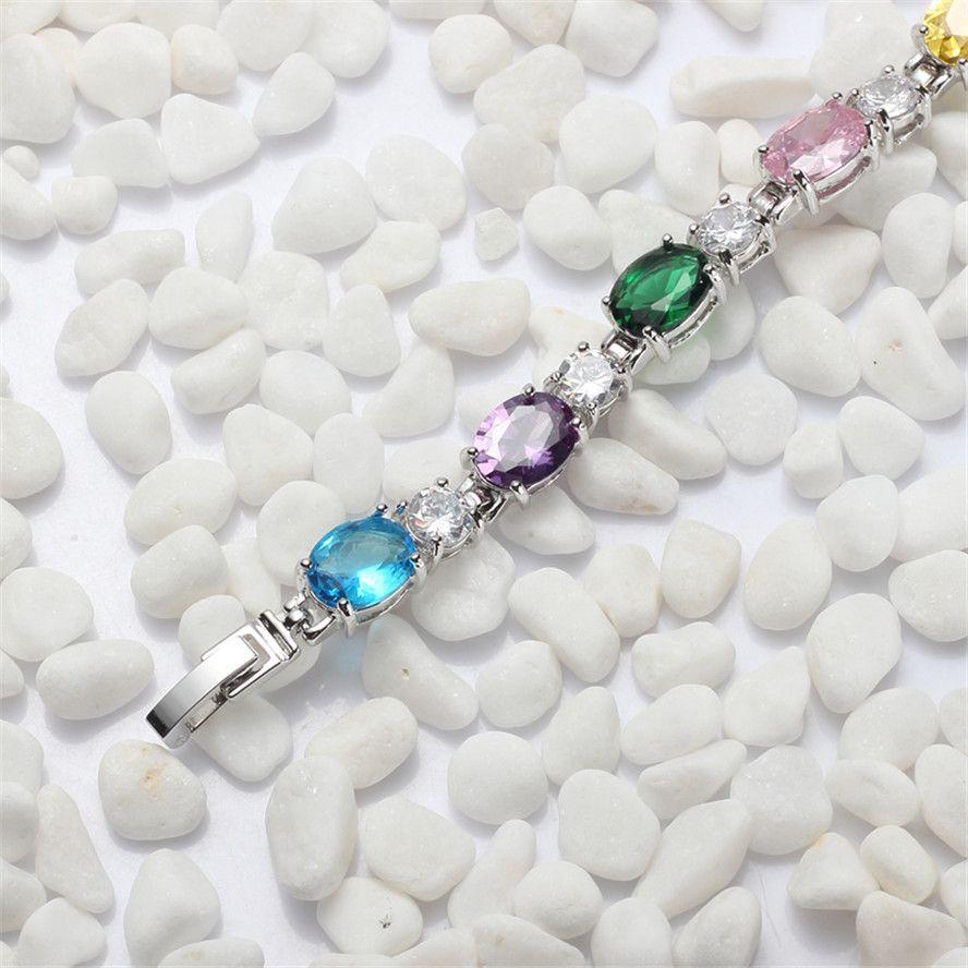 Marque New Rock Noble Généreux MN663 Fantaisie Rose Rouge Améthyste Bleu Péridot Cubique Zircone Belle Cuivre Plaqué Rhodium pour les femmes Bracelets