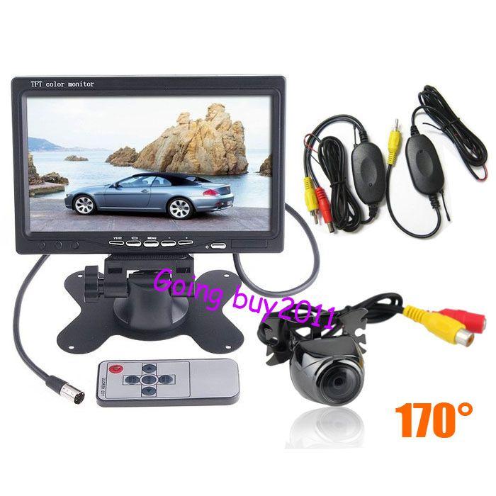 "7"" LCD Monitor Car Rear View Kit + Wireless Mini Metal Car Reversing Camera 170º"