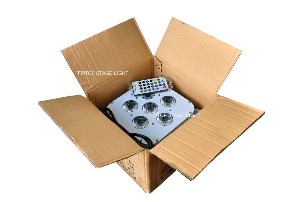 20XLOT White Aluminum Case Wireless Battery Powered 6*18W Square Sit Led Par Light RGBWA UV 6INMixing DMX 6/10 Channels