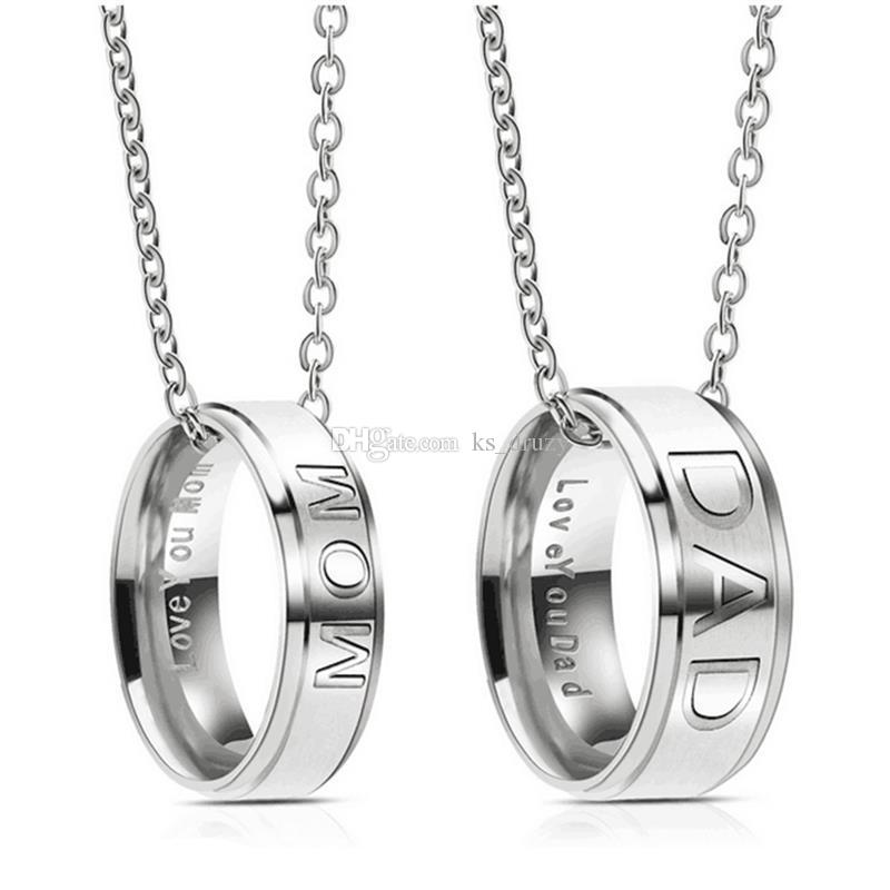 7c7440574fd1b Fashion Stainless Steel DAD MOM Ring Necklace Engraved Love You Letters  Jewelry Best Gift For Mother Father Christmas Gifts