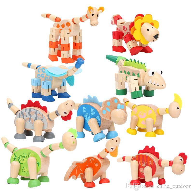 Animaux Jouets en bois Jouet éducatif Intelligence Dinosaures Animaux de dessin animé Jouets en bois pour enfants Enfants jouets pour bébés