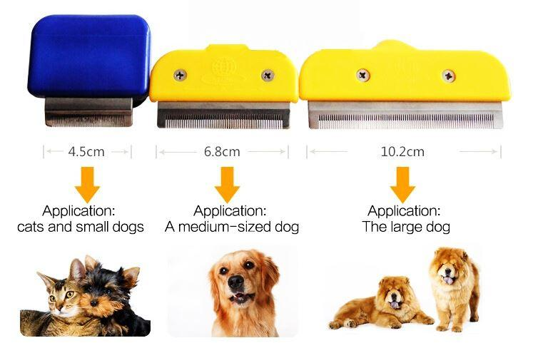 Pet dog Unhairing Comb Stainless Steel Needle Straight Shank Magic dog hair brush Pet Hair remove comb for cats combs L011