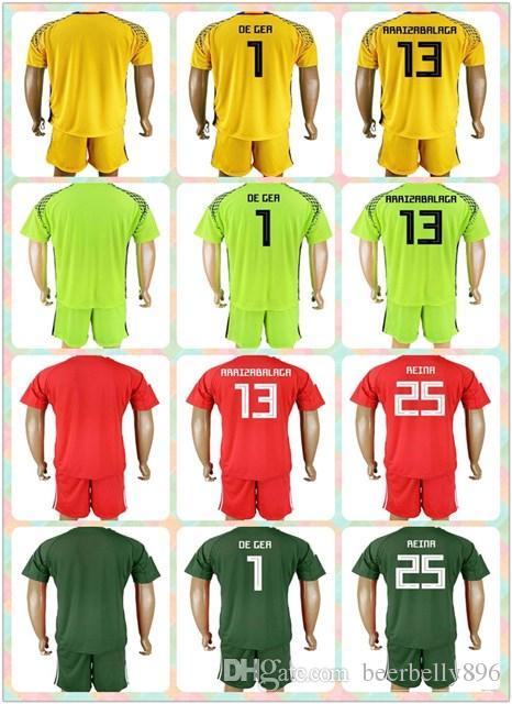 customized uniforms kit 2018 world cup country jersey spain 1 de gea 13 arrizabalaga 25 reina yellow red green goalkeeper 17 18 jerseys pique a iniesta