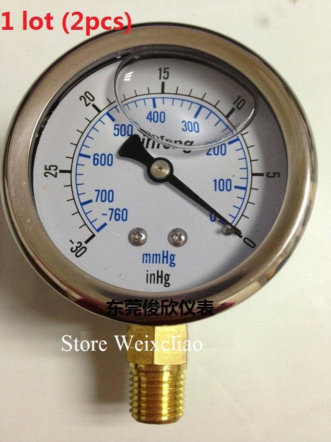 قياس الضغط -760-0mmHg 1/4PT فراغ متر ل آلة الطاقة الهيدروليكية قياس الضغط المانومتر 1 وحدة 2 قطع شحن مجاني