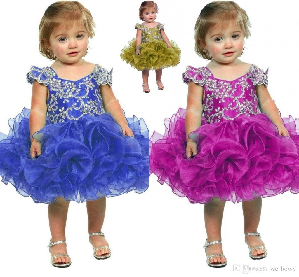 Little Girl Flower Girl Dress 2019 Baby Girl Infant Toddler Birthday  Pageant Dress Short Length Ruffled Fashion Ball Gown Tutu HY1199