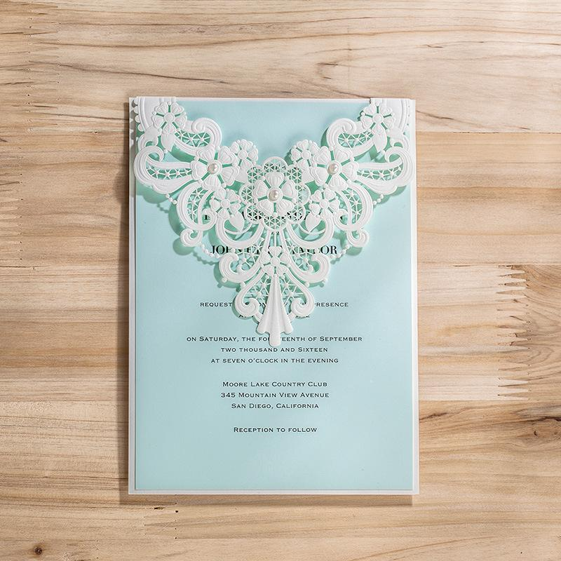 New Creative Personlized Laser Cut Wedding Invitation Cards White