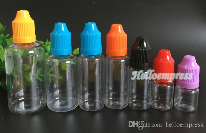 الملونة 30ML واضحة زجاجات Ecig السائل البلاستيك القطارة مع قبعات الطفل والدليل على زجاجة إبرة نصائح زجاجات عصير E 30ML