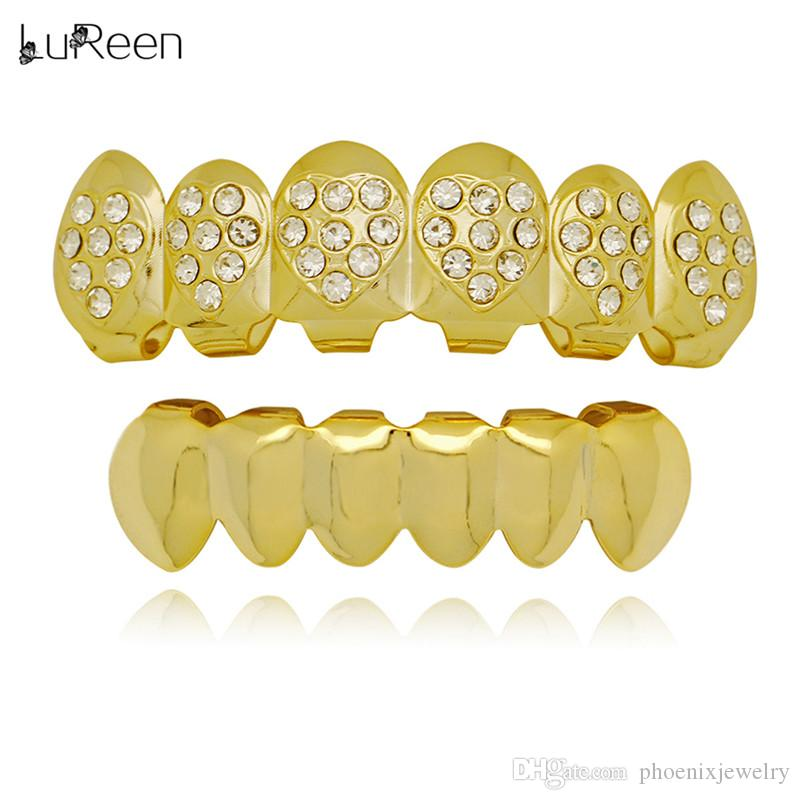 LuReen Oro Argento Denti Grillz a forma di cuore Bling Bling CZ 6 Top e Bottom Denti Set Cappellini Regalo di gioielli corpo di Halloween