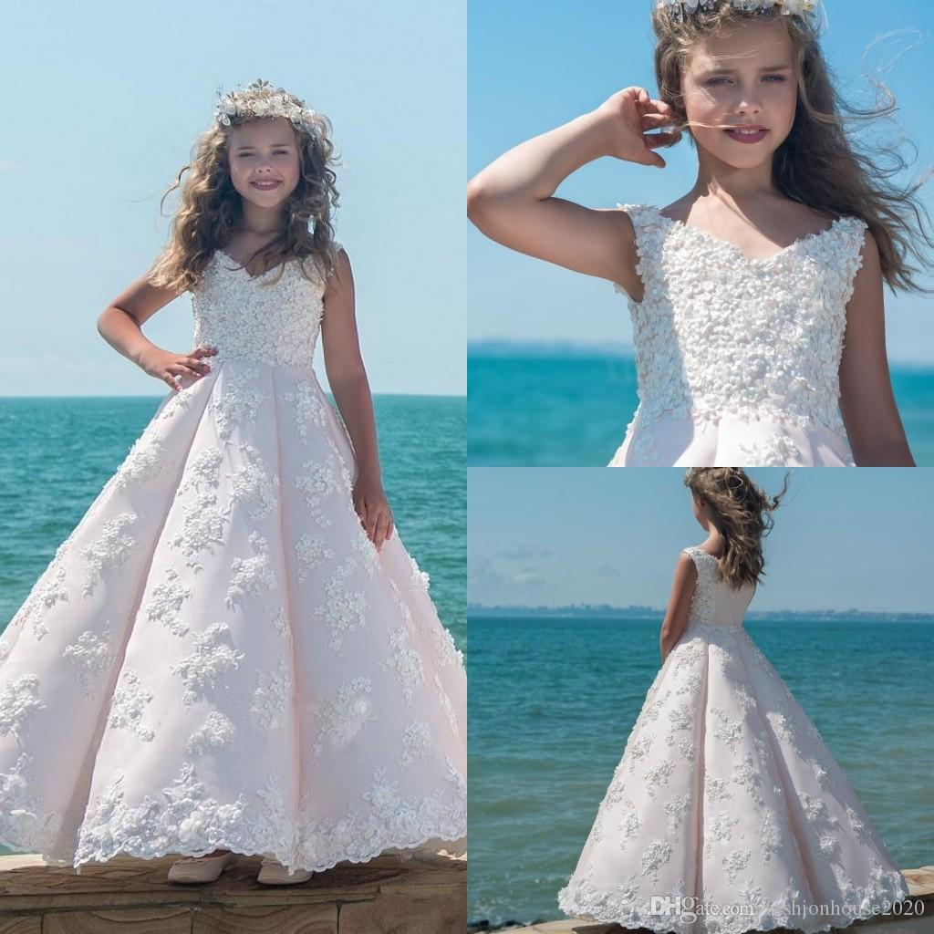 2017 Flower Girls Dresses For Weddings Blush Pink V Neck Full Lace ...