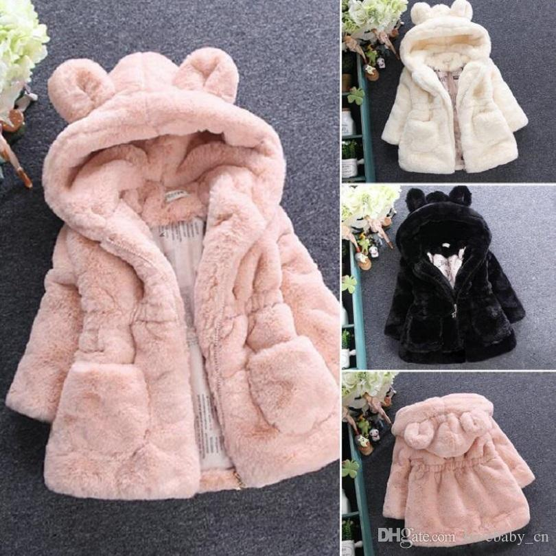2d7ef3ec99ea Cold Winter Baby Girls Clothes Faux Fur Infant Coat Rabbit Ears Warm ...