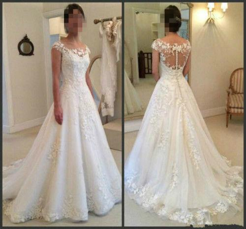Discount Illusion Sheer Neck Lace Wedding Dresses With
