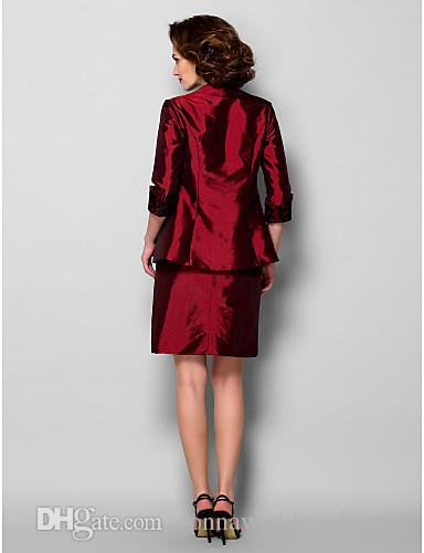 New Arrival Elegant Sheath/Column Mother of the Bride Dress With Jacket Burgundy Knee-length 3/4 Length Sleeve Taffeta