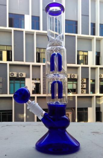 Оптовая продажа-две функции 4 руку перколятор стекла бонг стекла водопровод синий стекло курительная трубка с 19 мм чаша и нефтяной вышки