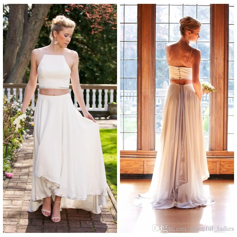 Discount Two Piece Spaghetti Strap Wedding Dresses Ivory A Line ...