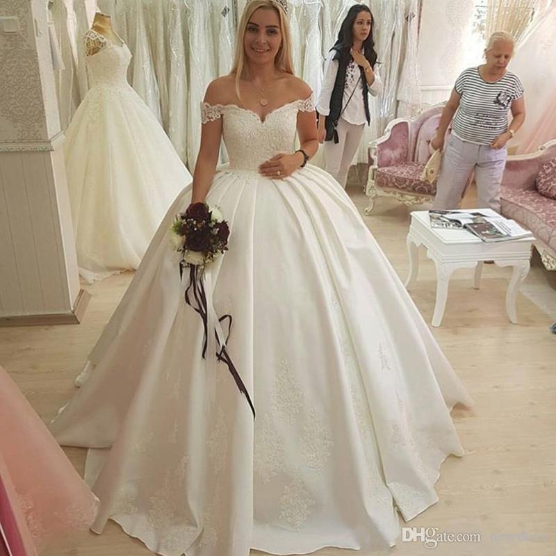 compre 2018 princesa off the hombrado vestido de novia apliques de