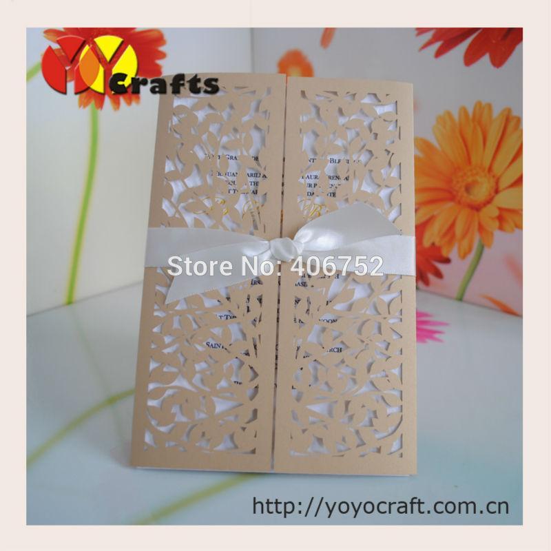 Double Door Wedding Folded Invitation CardsLaser Cut Leaves Design