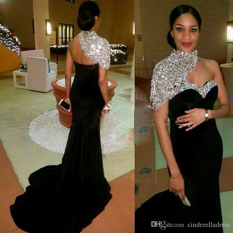 Bling Sparkly Beaded Sequins Long Sleeves Prom Dresses 2019 High Neck Long  Splits Evening Dresses Black Girls Party Gowns BA8238 82b2e450ed7c