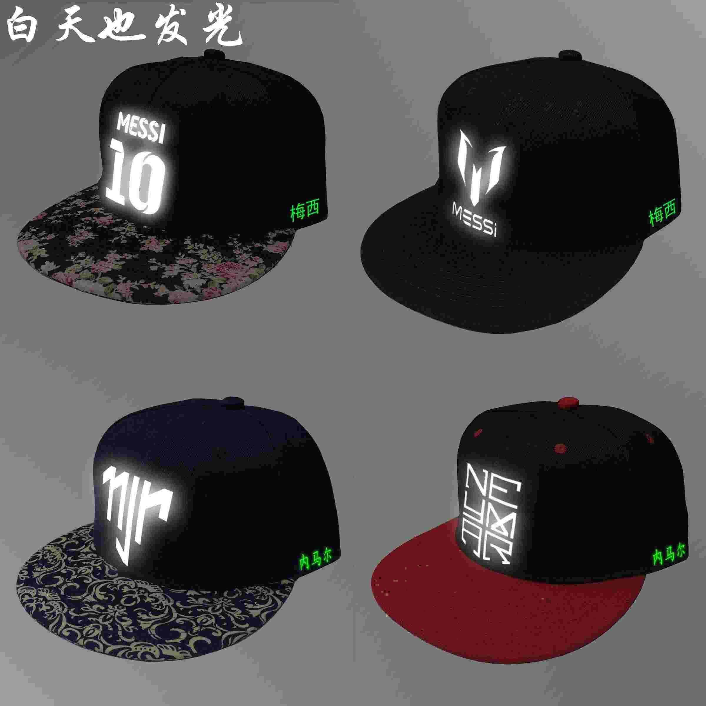 ... spain messi hat messi logo with a hat neymar with hip hop cap  reflective luminous football 30a45d80a705