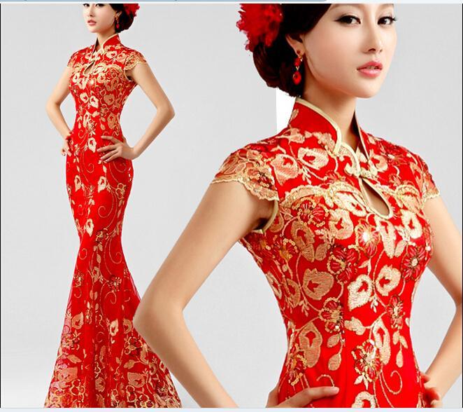 Großhandel Rote Spitze Fishtail Cheongsam Kleid Toast Kleidung ...