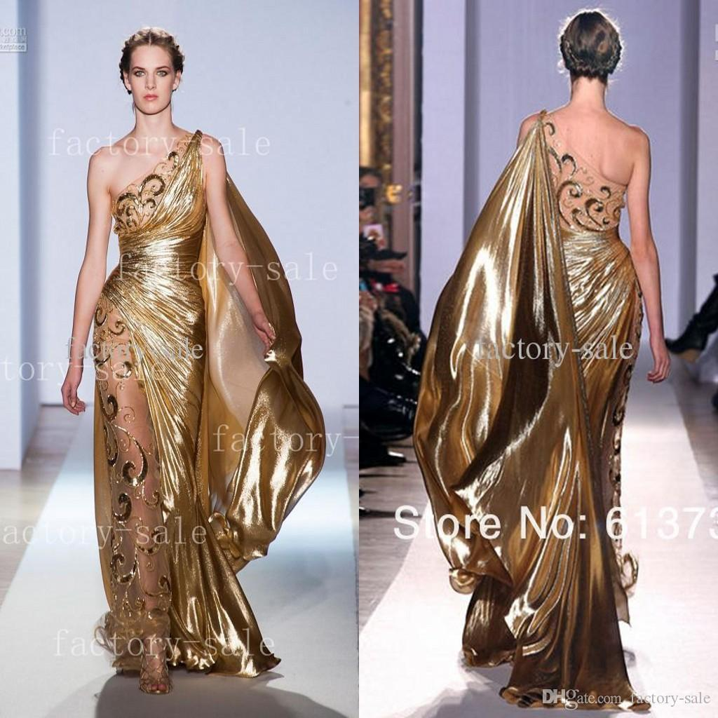 2017 Hot One Shoulder Gold Pageant Gowns Zuhair Murad Haute Couture ...