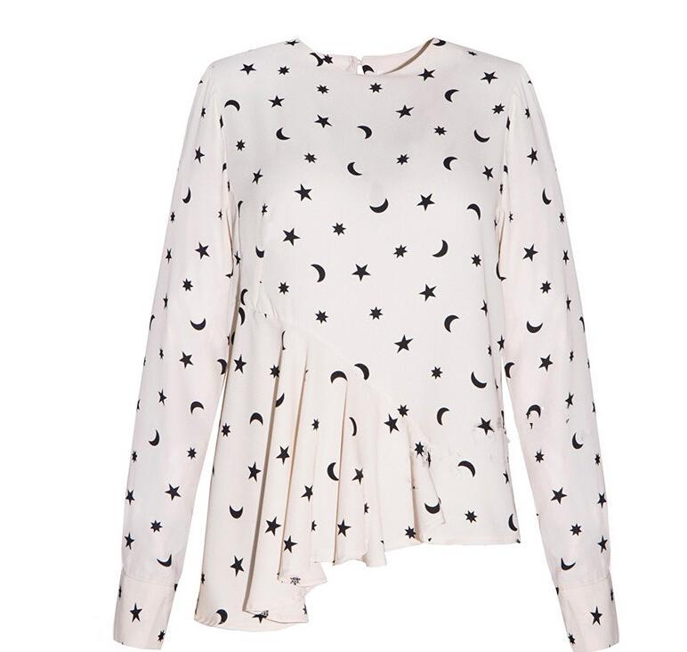 2016 Spring/Autumn Women Clothes Europe Slim Sexy Print Stars tops shirt Fashion Asymmetric oblique draped Long Sleeve Womens Shirts Blouse