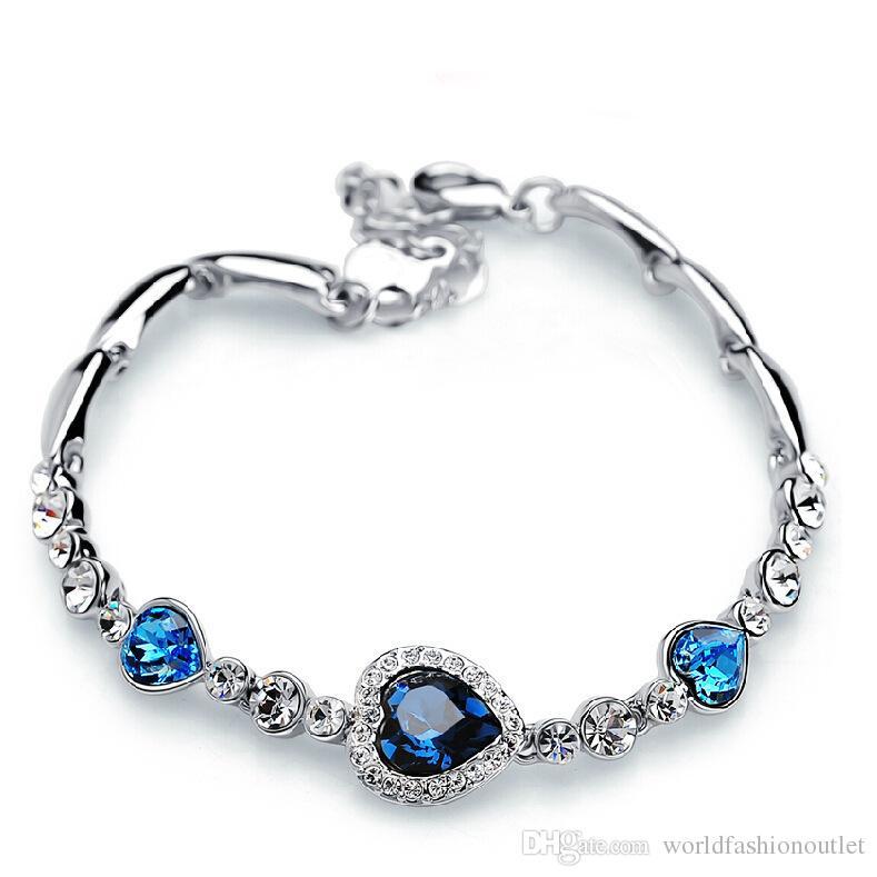 Charme Hot Bracelets Amour Coeur De L'océan Diamante Zircon Cristal De Mode Charme Cristal Bracelet Diamant Bijoux Autrichien Filles Cadeau D'anniversaire