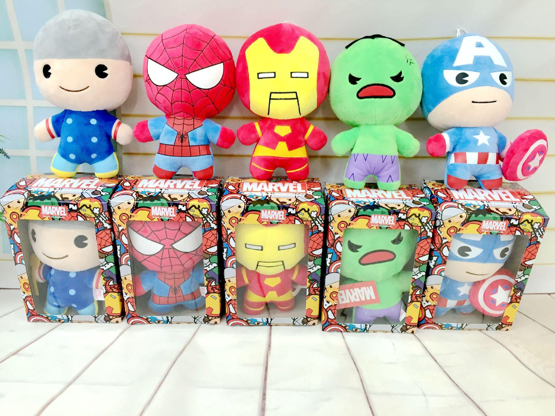 10 30cm Super Hero Plush Toy Spiderman Iron Men The Hulk Green