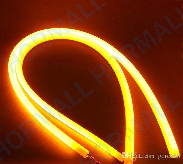 45cm LEDフレキシブルDRLストリップLEDターン信号LEDチューブライトスイッチバックDRLライト白黄色