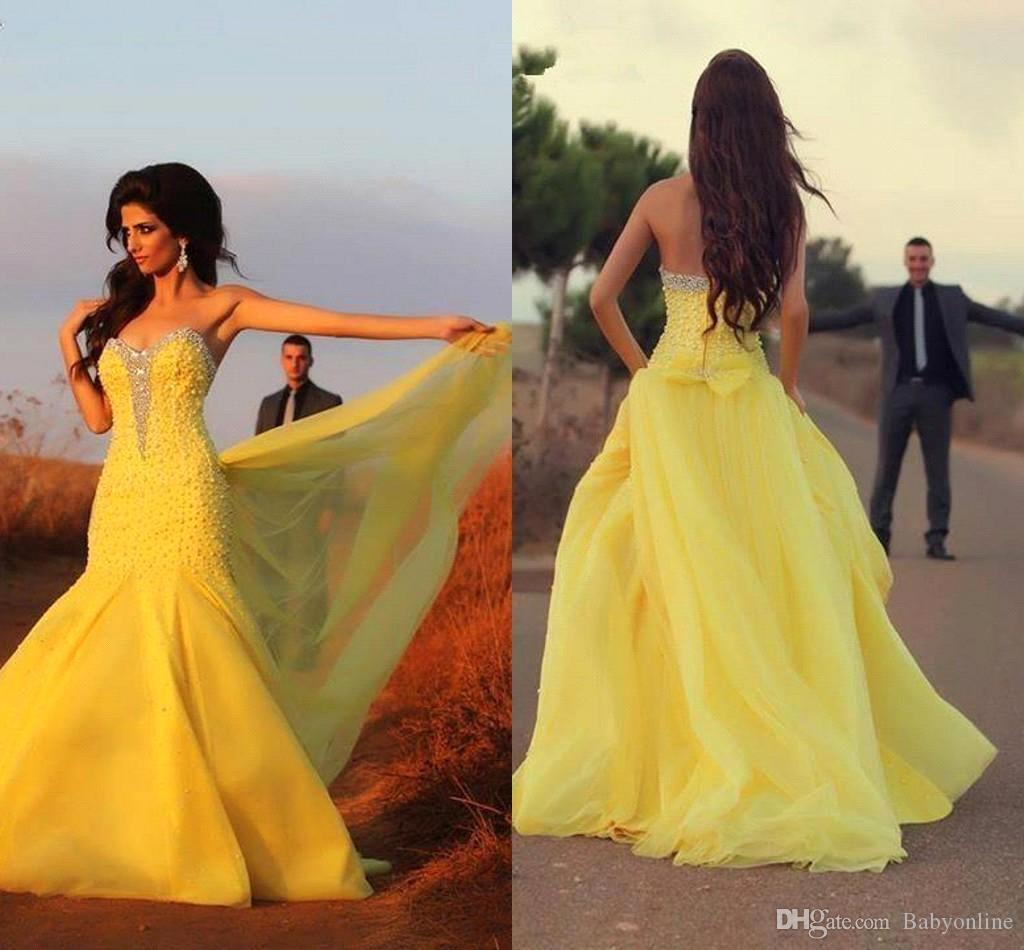 2017 New Yellow African Traditional Prom Dresses Sweetheart Beaded ...