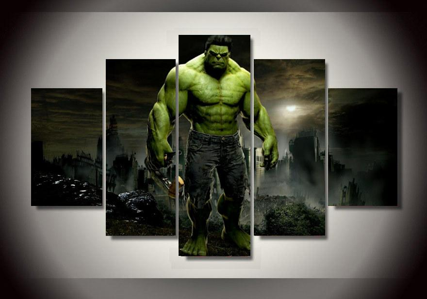 free shipping 5 panel framed printed hulk movie group painting room decor print poster picture canvas metal wall art discount metal wall art