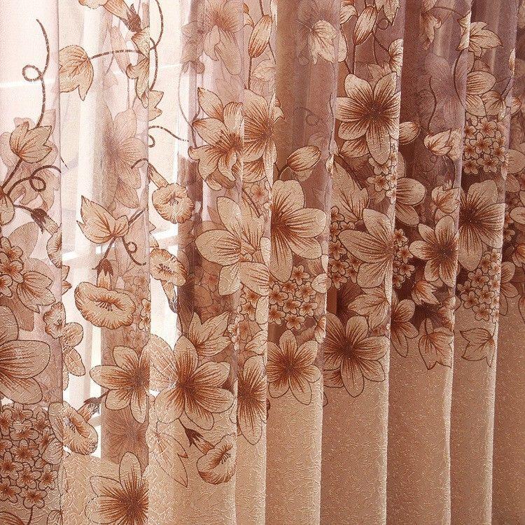 Moda moderna de alta qualidade cortinas da janela terminou para sala de estar / roupa de cama cortinas de luxo + contas de tule para o hotel Roxo / Marrom