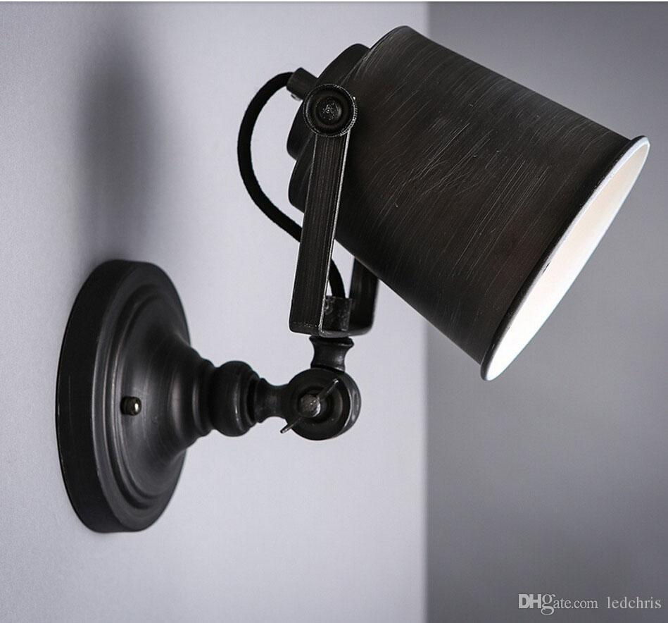 Personalized Iron Material European Creative Vintage Swing Arm Lights Black  Hand Painted Wall Light Stair Lamp Indoor Decor Industrial Wall E27 Wall  Sconces ...