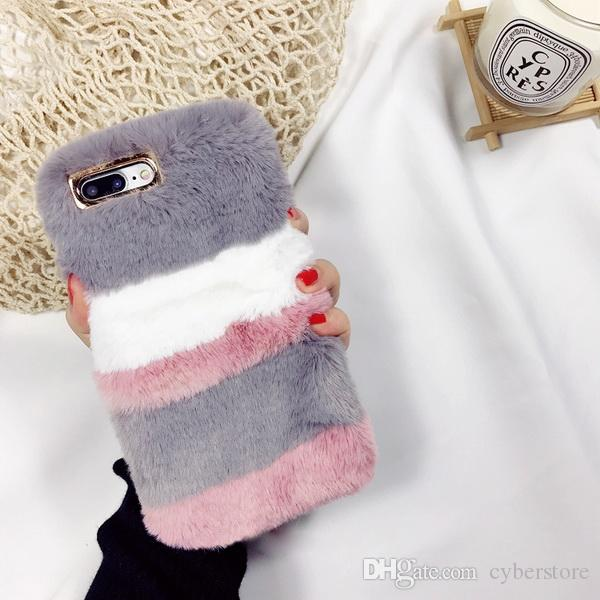 Per iPhone X edition 8 Plus Coniglio caldo Fluffy Pelliccia colorata Villi Fur Peluche Custodia rigida per iPhone 6 7